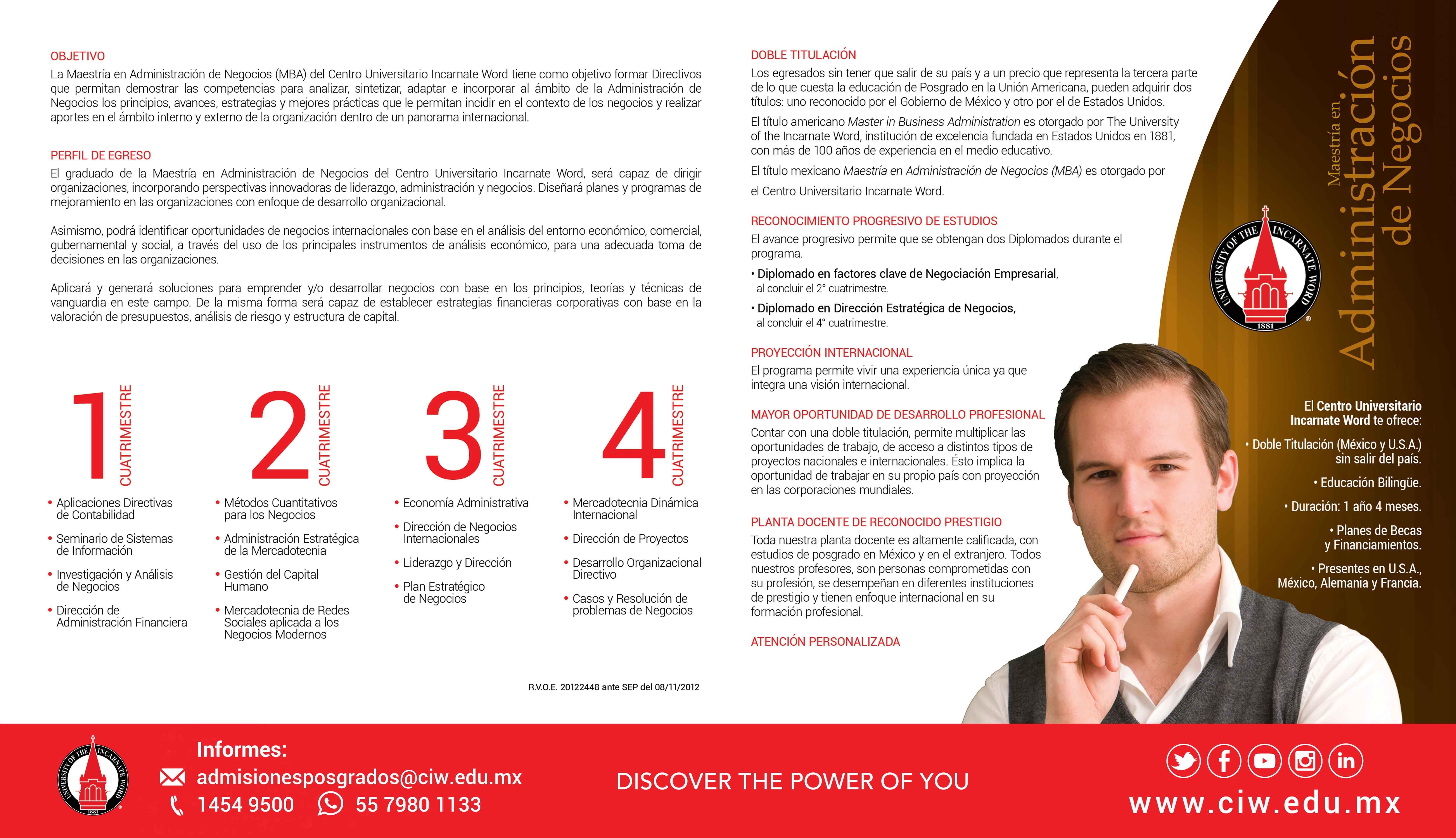 Plan de estudios Maestría en Administración de Negocios