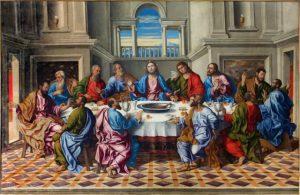 En esta noche del Jueves Santo, fue la última vez que Jesús se reunió con sus 12 apóstoles para compartir con ellos el pan y el vino antes de su muerte, a este acto se le considera como la introducción de la eucaristía, en la cual Cristo deja su cuerpo y sangre (en pan y vino).